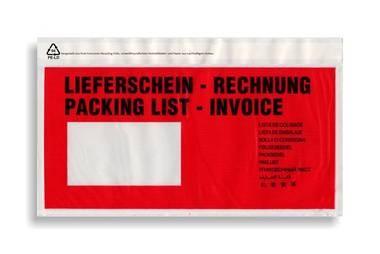 Dokutaschen 240x110+25mm Lieferschein+Rechnung