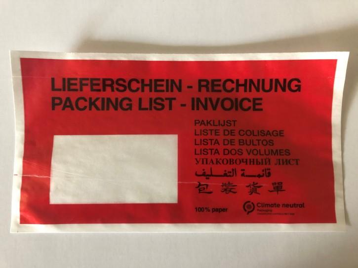 Dokutaschen PAPIER 240x110+25mm Lieferschein + Rechnung